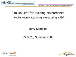 To Do List  for Building Maintenance