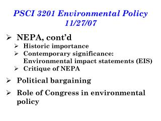 PSCI 3201 Environmental Policy 11/27/07