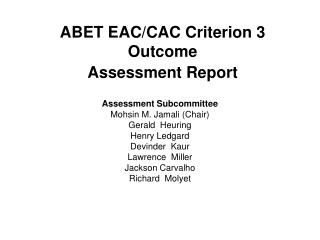 ABET EAC/CAC Criterion 3 Outcome Assessment Report