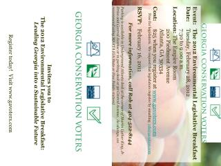 Event:	The 2012 Environmental Legislative Breakfast Date:	 Tuesday, February 28, 2012