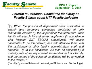 Referral to Personnel Committee for clarity on Faculty Bylaws about NTT Faculty Inclusion