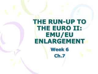 THE RUN-UP TO THE EURO II:  EMU/EU ENLARGEMENT