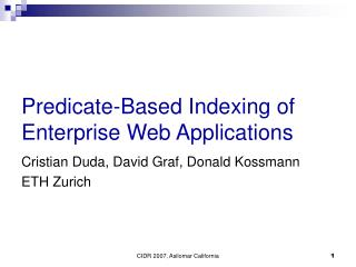 Predicate-Based Indexing of  Enterprise Web Applications