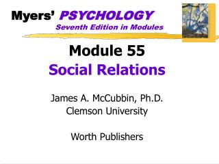 Myers'  PSYCHOLOGY Seventh Edition in Modules