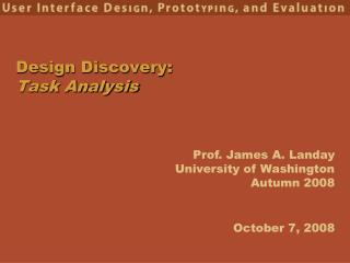 Design Discovery: Task Analysis