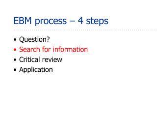 EBM process – 4 steps