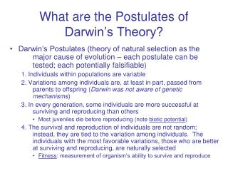 What are the Postulates of Darwin's Theory?