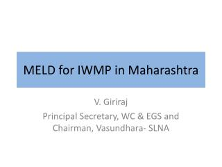 MELD for IWMP in Maharashtra