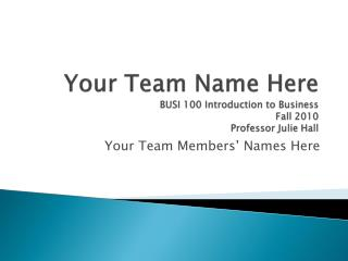Your Team Name Here BUSI 100 Introduction to Business Fall 2010 Professor Julie Hall