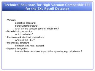 Technical Solutions for High Vacuum Compatible FEE for the EXL Recoil Detector