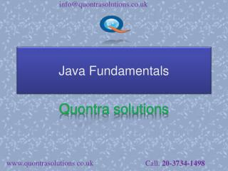 Fundamentals of java by quontra solutions