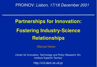 Partnerships for Innovation : Fostering Industry-Science Relationships