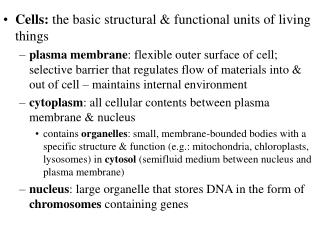 Cells:  the basic structural & functional units of living things