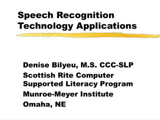 Speech Recognition Technology Applications