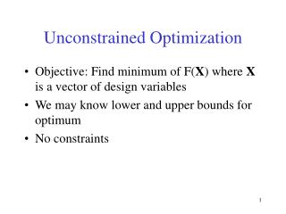 Unconstrained Optimization