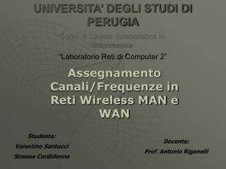 Assegnamento Canali/Frequenze in Reti Wireless MAN e WAN