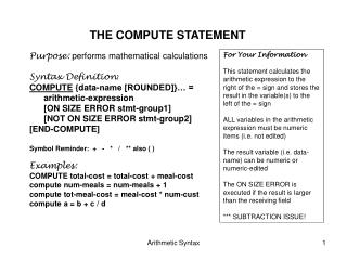 THE COMPUTE STATEMENT