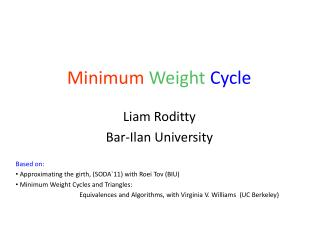 Minimum  Weight Cycle