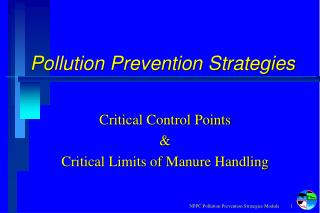 Pollution Prevention Strategies