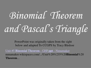 Binomial  Theorem and Pascal's Triangle