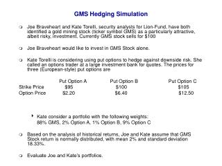GMS Hedging Simulation