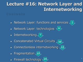 Lecture #16: Network Layer and Internetworking