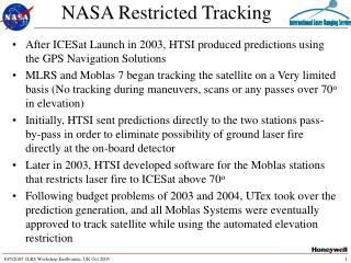 NASA Restricted Tracking