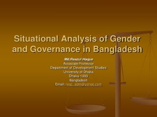 Situational Analysis of Gender and Governance in Bangladesh
