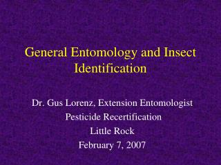 General Entomology and Insect Identification