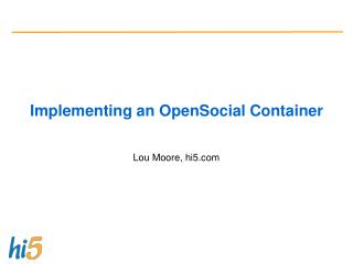 Implementing an OpenSocial Container