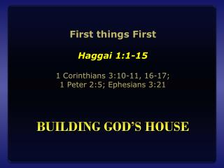 Building god's house