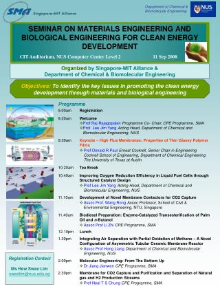 SEMINAR ON MATERIALS ENGINEERING AND BIOLOGICAL ENGINEERING FOR CLEAN ENERGY DEVELOPMENT