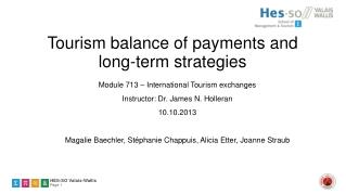 Tourism balance of payments and long-term strategies