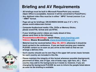 Briefing and AV Requirements