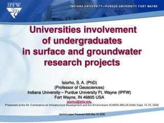 Universities involvement  of undergraduates  in surface and groundwater  research projects