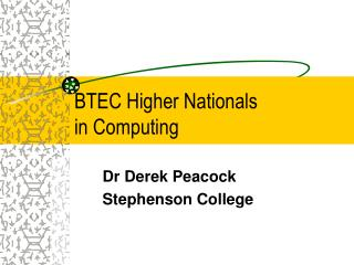 BTEC Higher Nationals in Computing