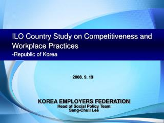 ILO Country Study on Competitiveness and Workplace Practices -Republic of Korea