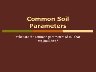 Common Soil Parameters