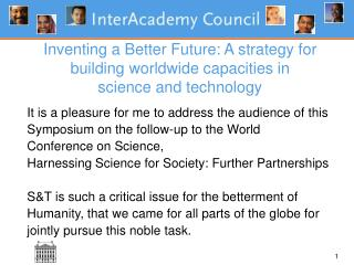 Inventing a Better Future: A strategy for building worldwide capacities in  science and technology