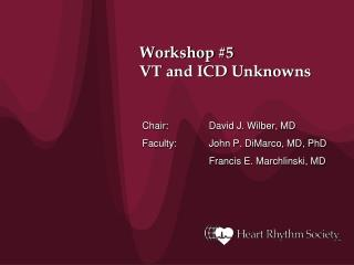 Workshop #5 VT and ICD Unknowns