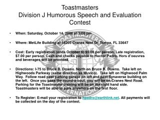 Toastmasters Division J Humorous Speech and Evaluation Contest