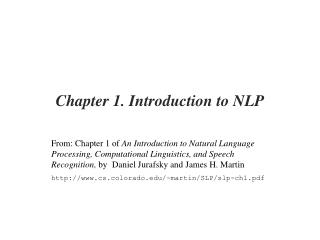 Chapter 1. Introduction to NLP