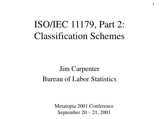 ISO/IEC 11179, Part 2: Classification Schemes