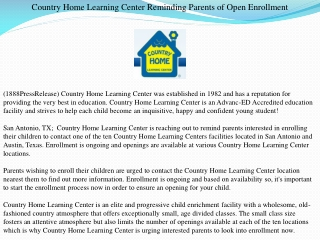 Country Home Learning Center Reminding Parents of Open Enrol