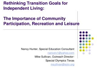 Nancy  Hunter, Special Education Consultant nancytx1@yahoo