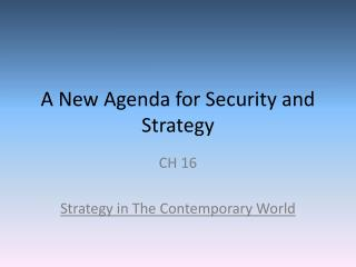 A New Agenda for Security and Strategy