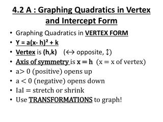 4.2 A : Graphing Quadratics in Vertex and Intercept  Form