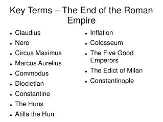Key Terms – The End of the Roman Empire