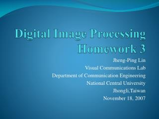 Digital Image Processing Homework 3