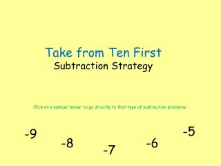 Take from Ten First  Subtraction Strategy